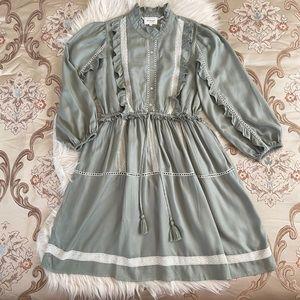 Böhme Women's Ruffle Trim Green Sage Dress NWT S